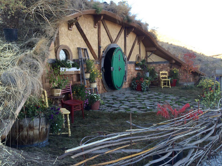 Hobbit Hole Tiny House Covered With Dirt And Living Roof