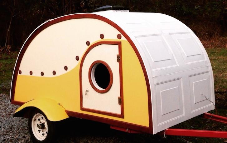 Hodgepodge Diy Teardrop With Garage Door Panels For Roof