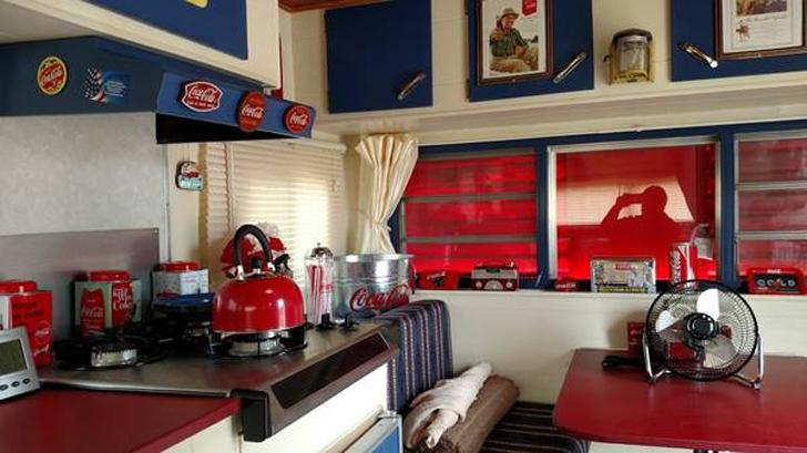 coke themed kitchen
