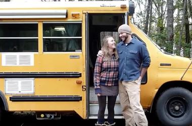 Couple Complete Mini School Bus To Campervan Conversion