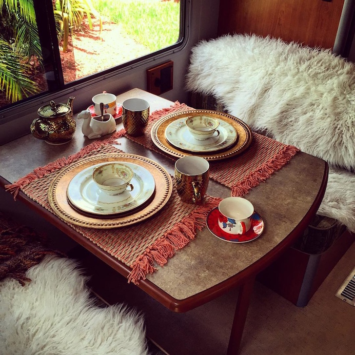 RV dinette with Bohemian decor
