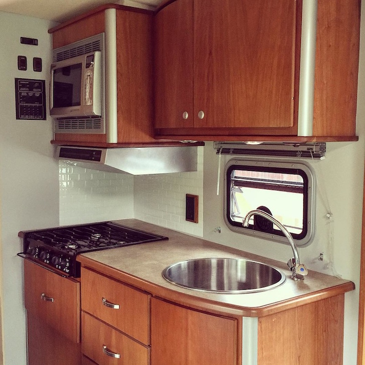 Smart Tile backsplash in RV kitchen