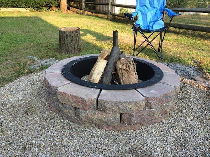 Stone pebbles around fire pit