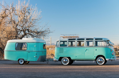From The Early Days Of Camping: 1963 Volkswagen Type 2 Microbus With Eriba Puck Trailer