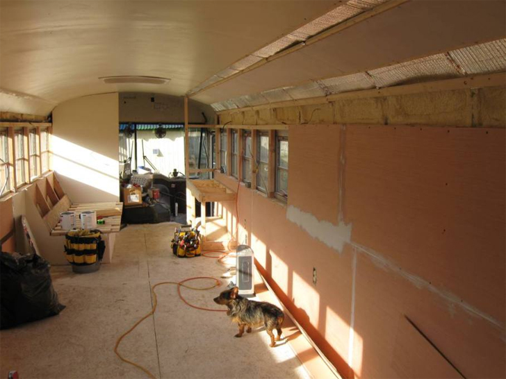 interior gutted and insulated