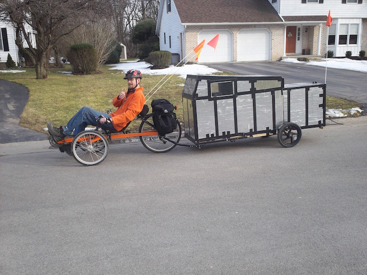 Pedal powered bicycle camper