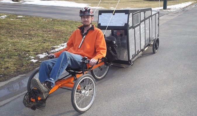 Winter-Proof Insulated Bicycle Camper Pulled With Trike