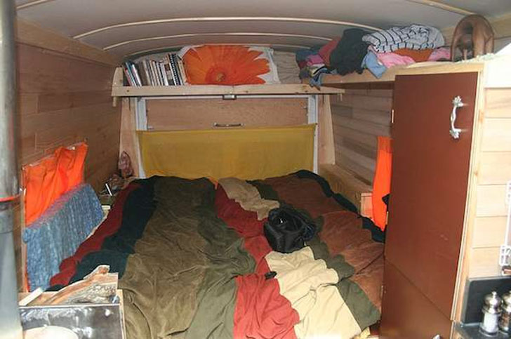 bed at rear of van