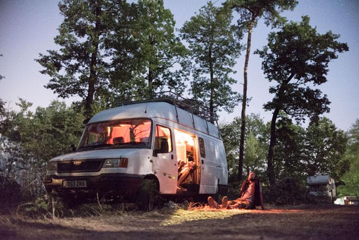 the van in the woods
