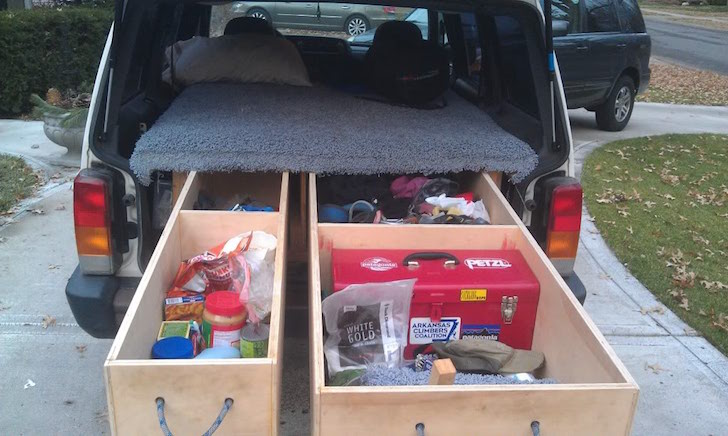 Full storage drawers in Jeep camper