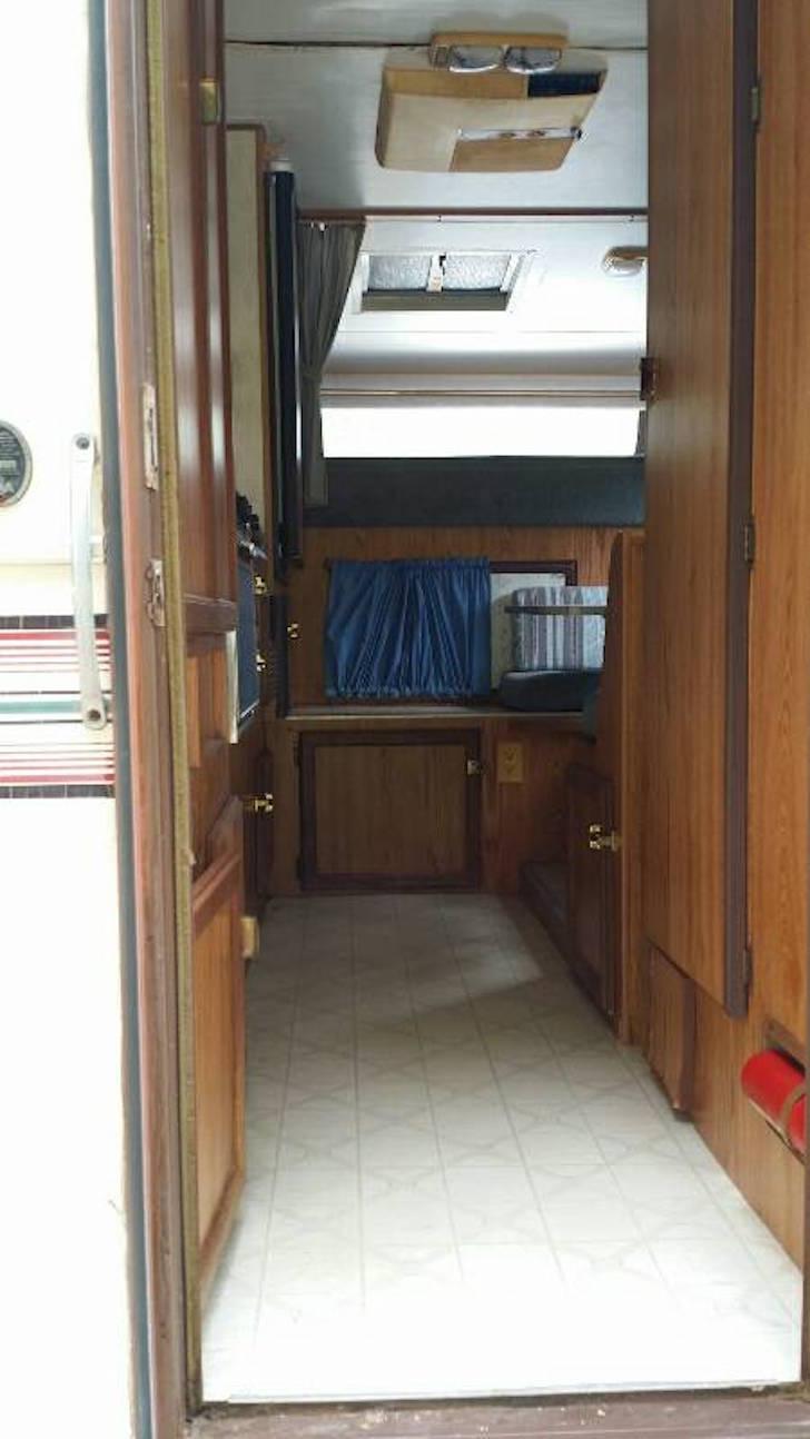 Inside hunting trailer