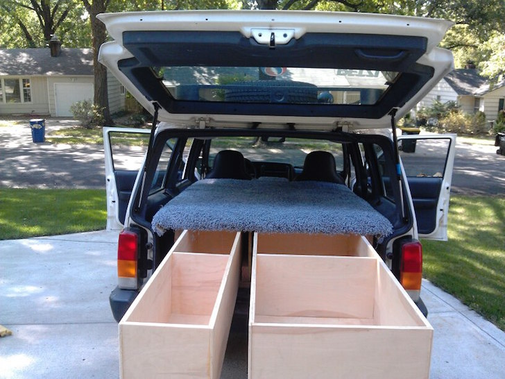 Jeep Cherokee camper drawers