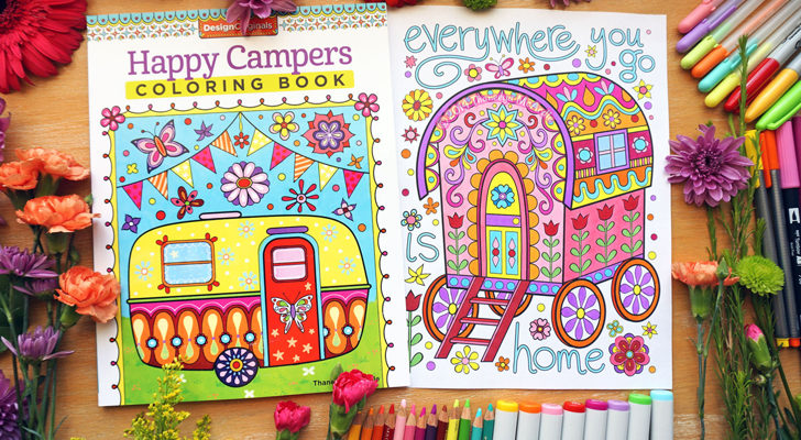 "This Retro ""Happy Campers Coloring Book"" Makes A Perfect Trip Companion"