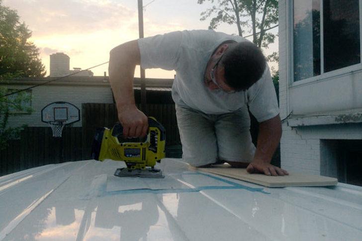 Adding fan to van roof