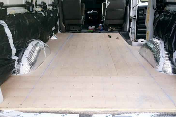 Birch subfloor in van