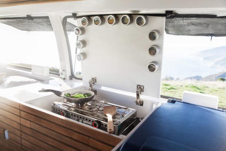 Custom kitchen cabinets in van