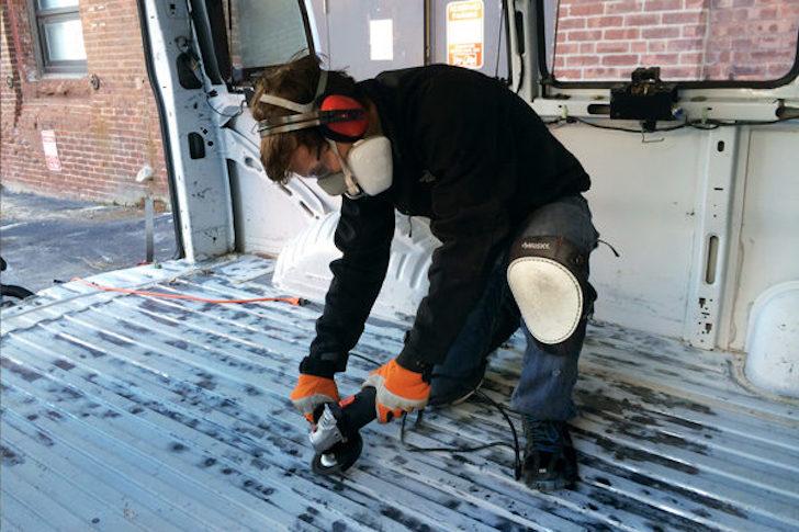 Grinding a van floor