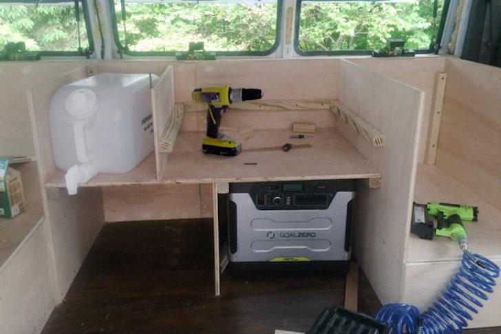 Kitchen area in van