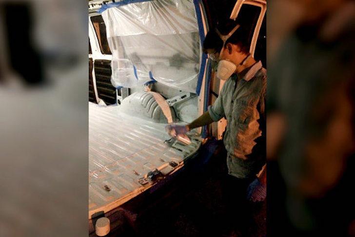 Painting a van floor