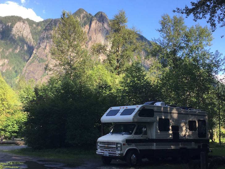 Motorhome by mountain