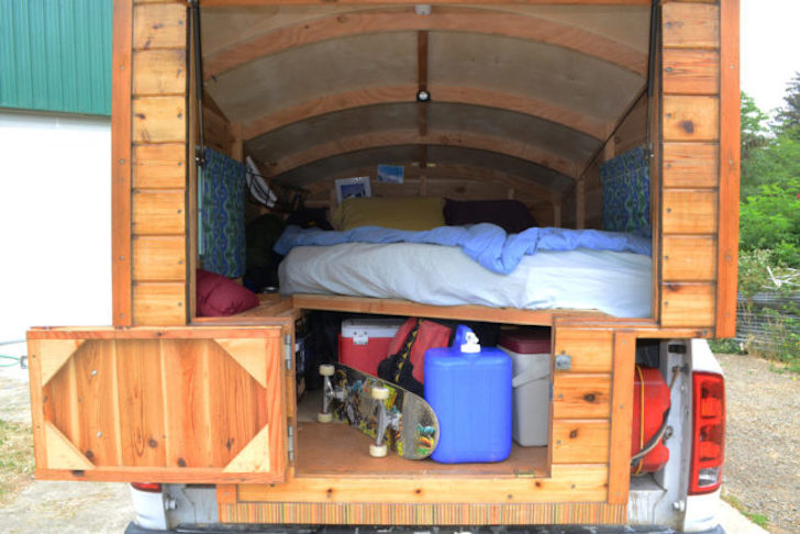 Rear truck camper storage
