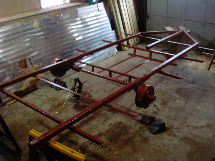 Refinished metal trailer frame