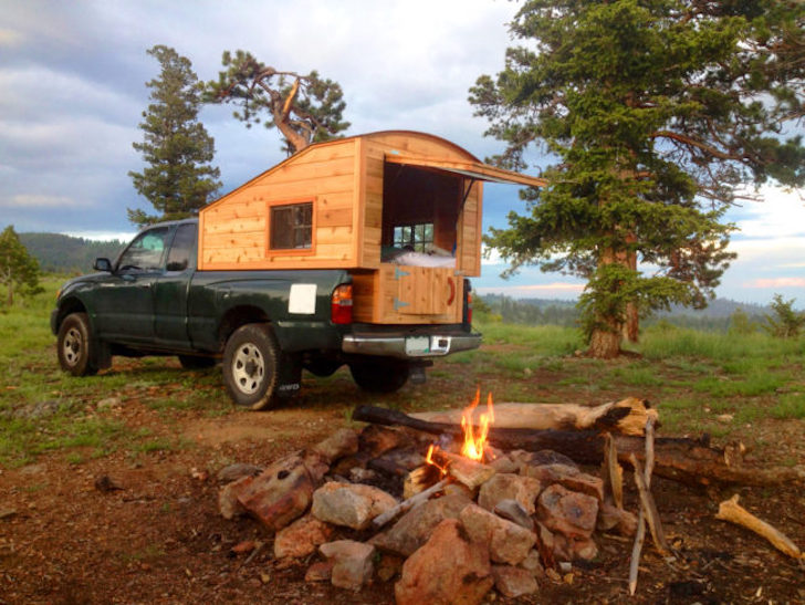 Tuffli Built truck camper at campsite