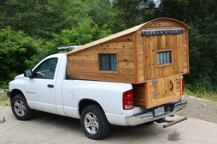 Wooden truck bed camper