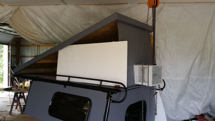 Air conditioner on truck camper