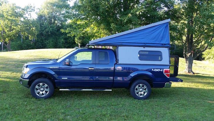 Homemade pop up truck camper