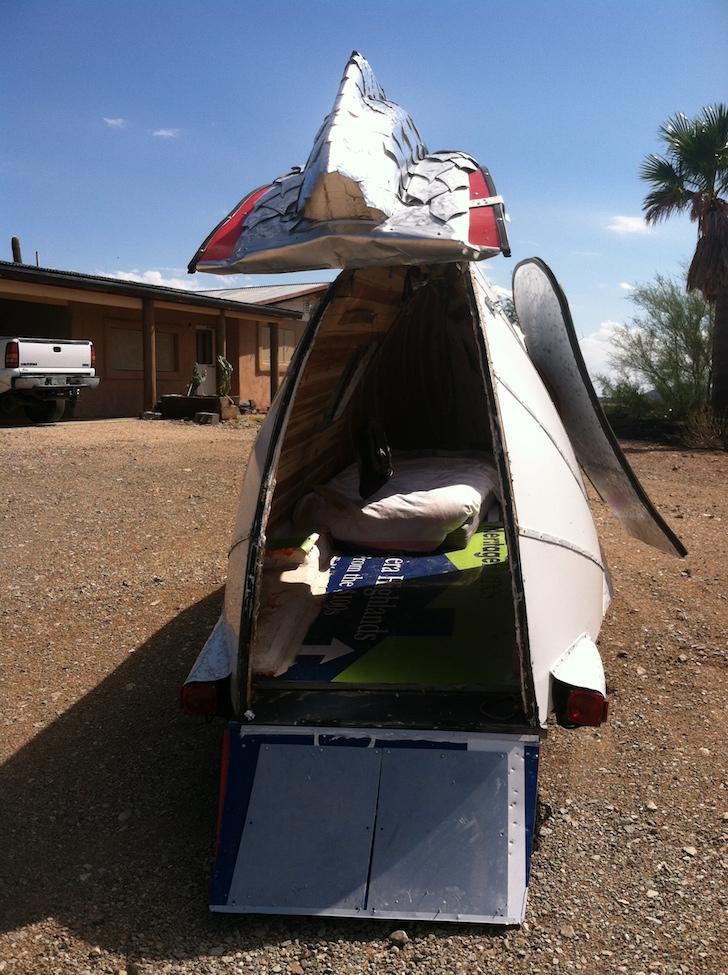 Rear of homemade camper