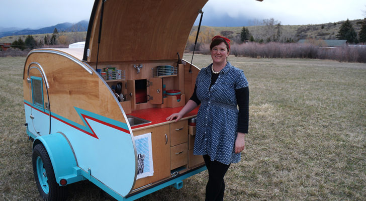 Montana Artists Build Teardrop Trailer Using Wrecked Auto Parts [VIDEO]