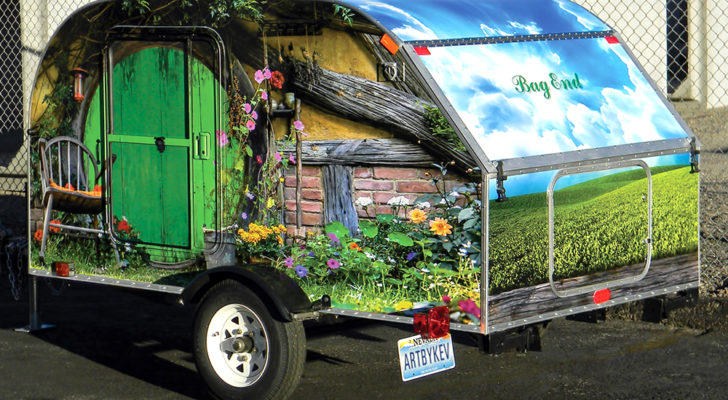 Teardrop Trailer Wrapped In Artist's Design Rolled Right Out Of The Hobbit