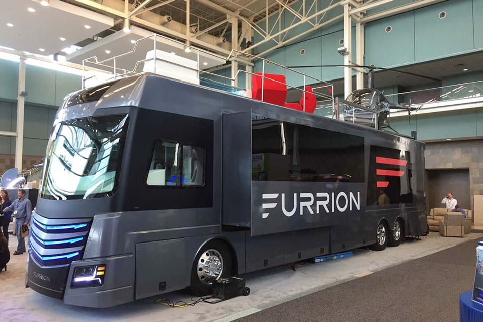 Furrion Elysium RV Has A Hot Tub And Helicopter On The Roof