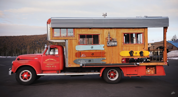 A Closer Look Inside This Pro Snowboarder's Converted 1953 GMC Fire Truck