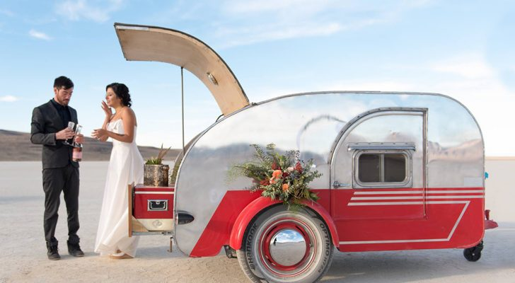 Adventurous Couples Tie The Knot With 1950s Teardrop Trailer