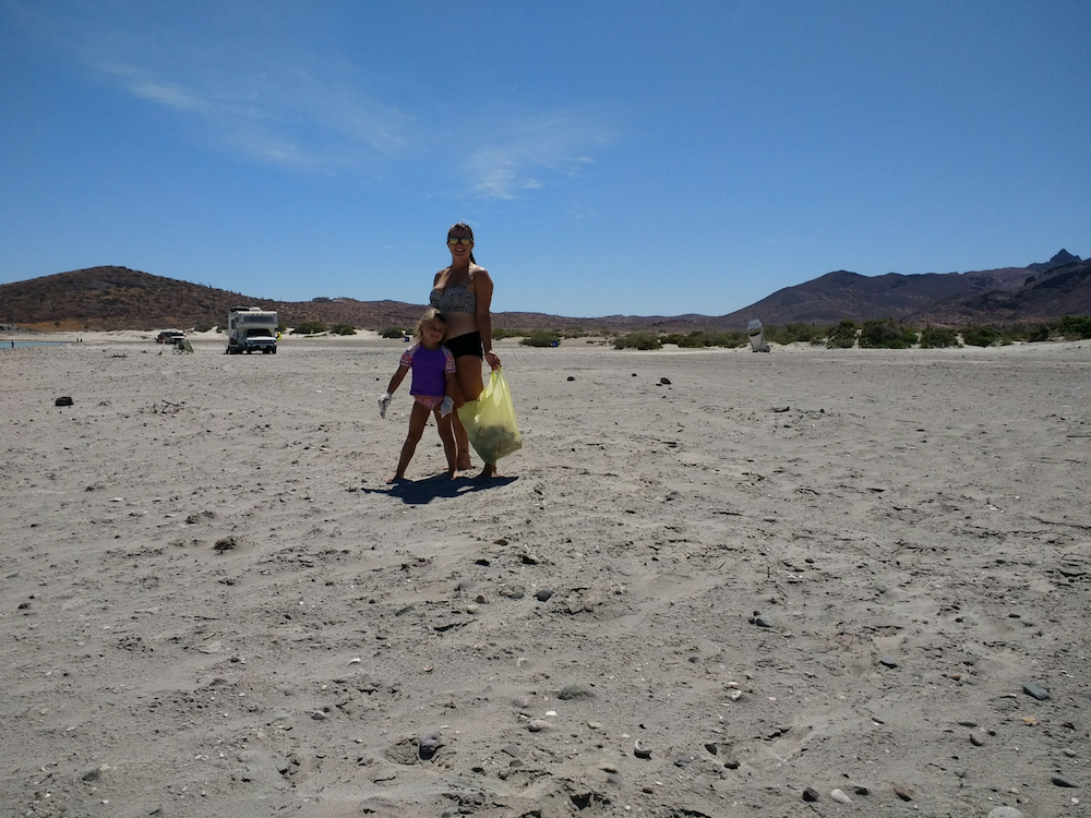 baja-beach-camping-picking-up-litter