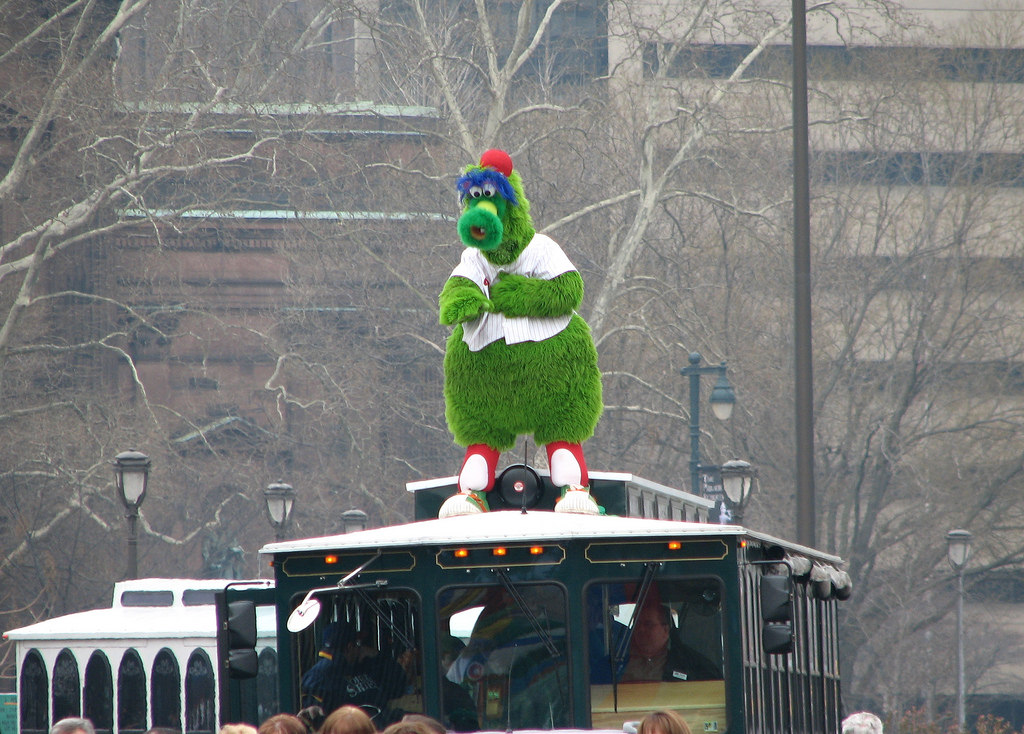 Phillie Phanatic at the St. Patrick's Day parade. Photo via Flickr