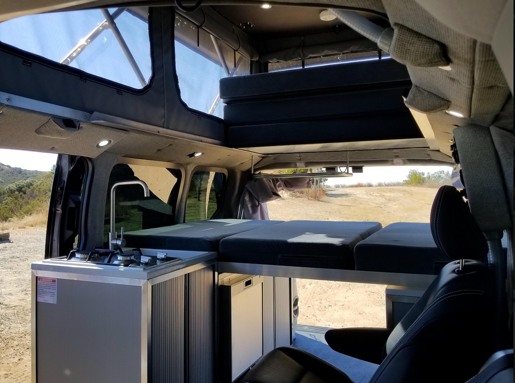 The removable bed in the back
