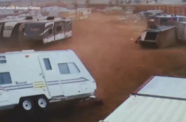Insane Video Shows Tornado Flipping Over RVs In Storage Lot