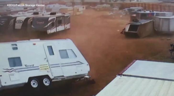Insane Video Shows Tornado Flipping Over RVs In Storage Lot