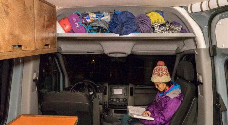 Add More Space In Your Sprinter Van With A DIY Headliner Shelf