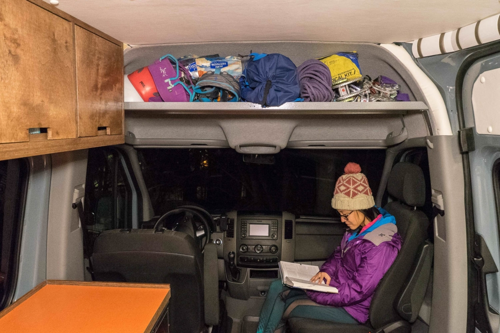 Wide view of the sprinter van headliner shelf installed - Photos courtesy of Vancillary