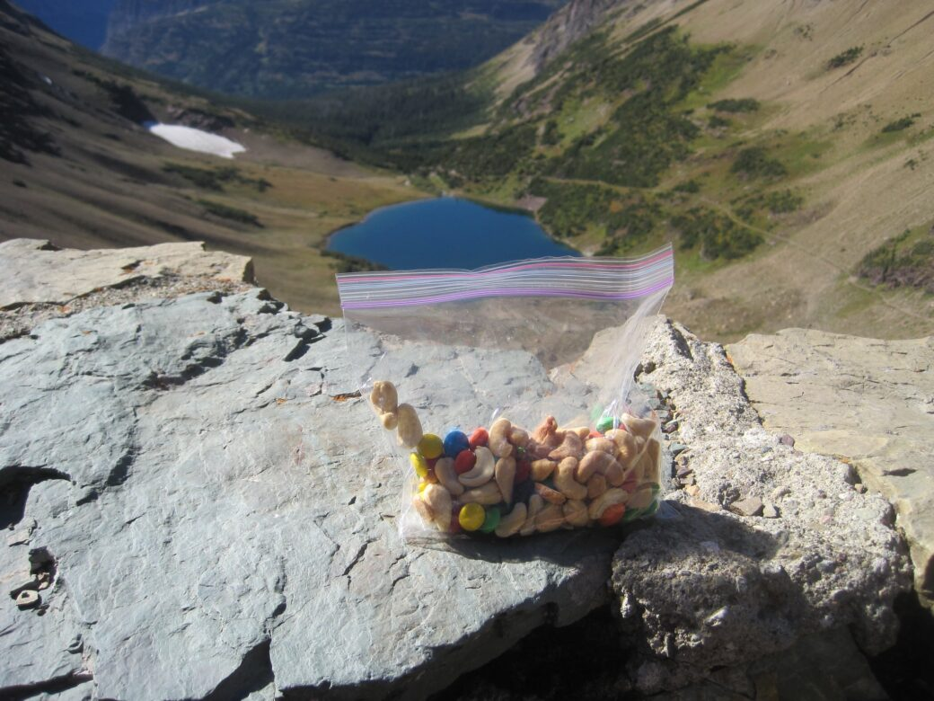 Homemade trail mix while hiking at Glacier National Park. Photo by Peter Morville