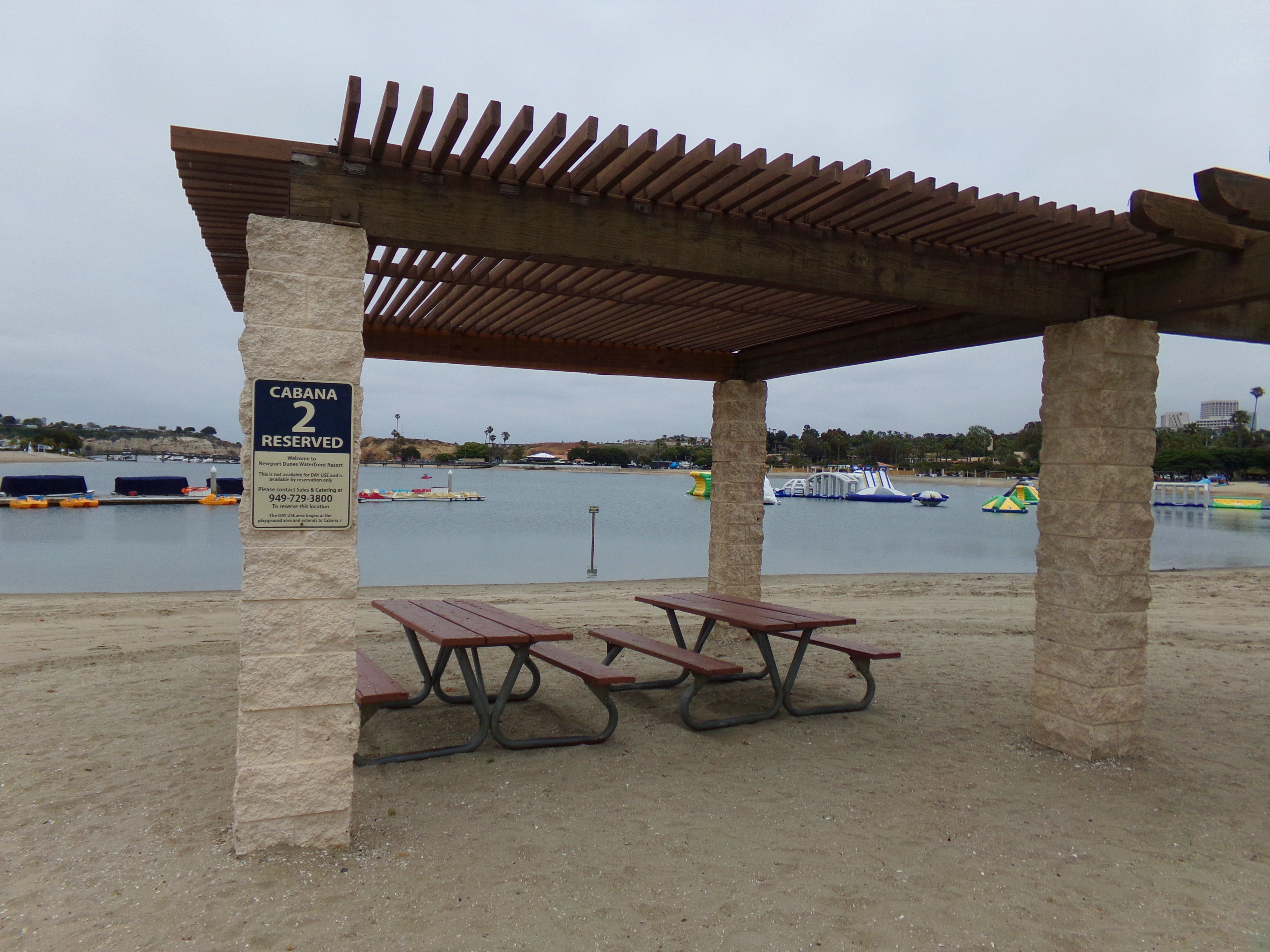 Cabanas can be reserved on the beach