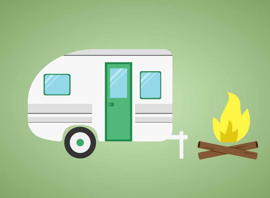 Have fun designing your own camping or RV logo. Logo by Christina Nellemann