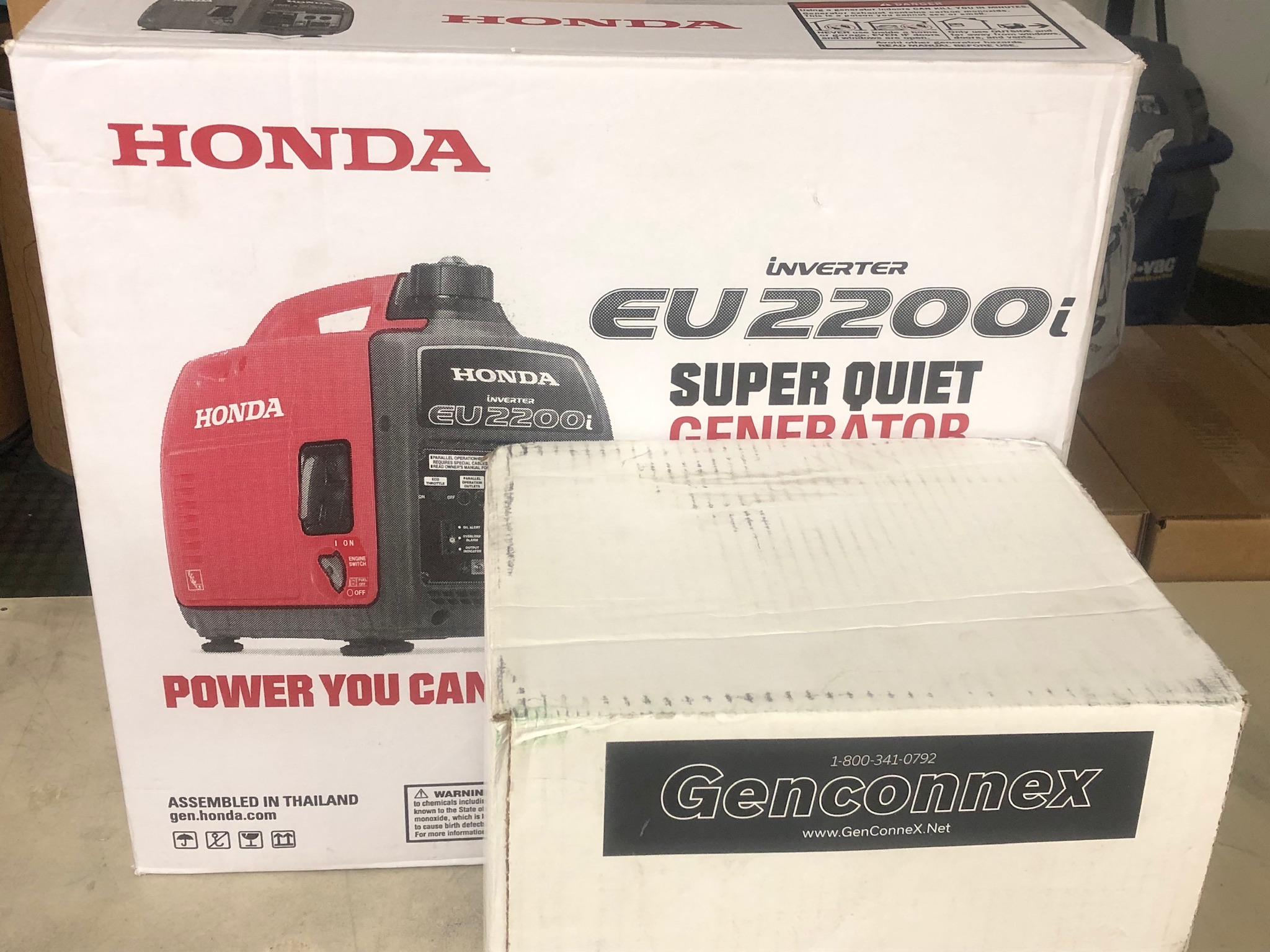 Honda EU2200i and Genconnex Kit in box