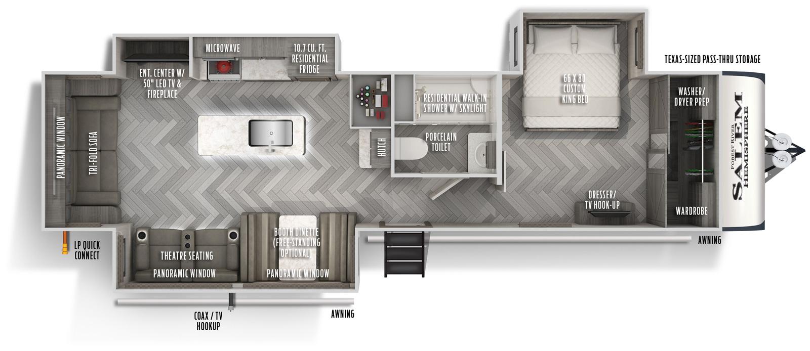 Floorplan of the 2020 Forest River Salem Hemisphere Travel Trailer