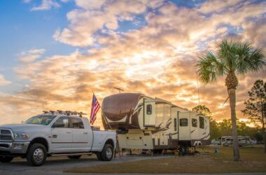 fifth wheel at sunset at Thousand Trails Camping Pass RV park