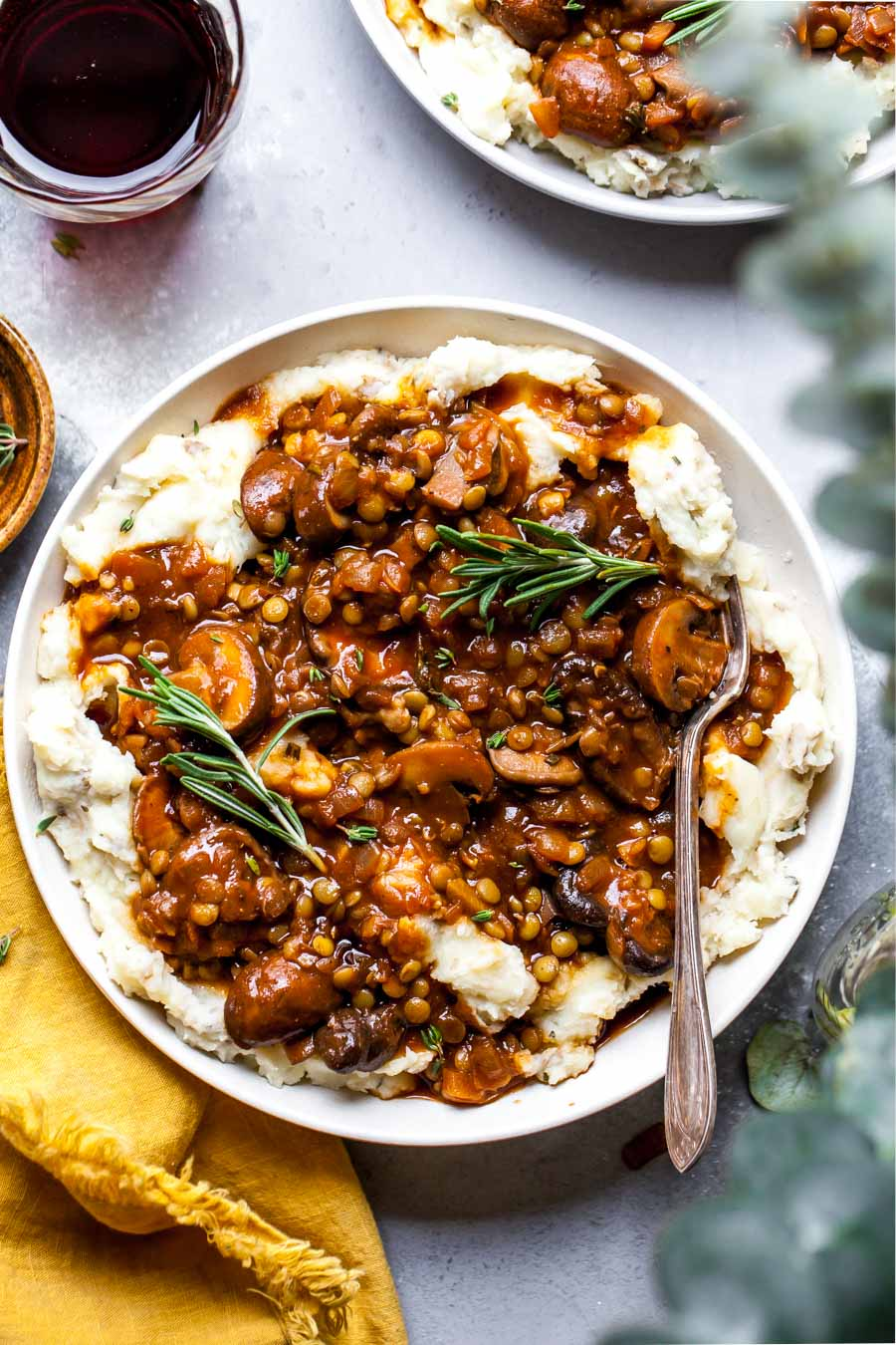 easy camping meals - lentil/mushroom stew